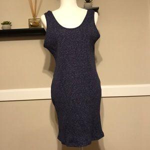 Sleeves blue marl bodycon dress